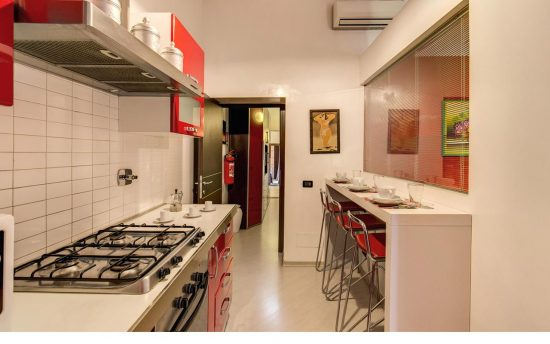 Furnished Kitchen with Modern Electrical Tools | Luxury Apartment, Center of Rome, Italy