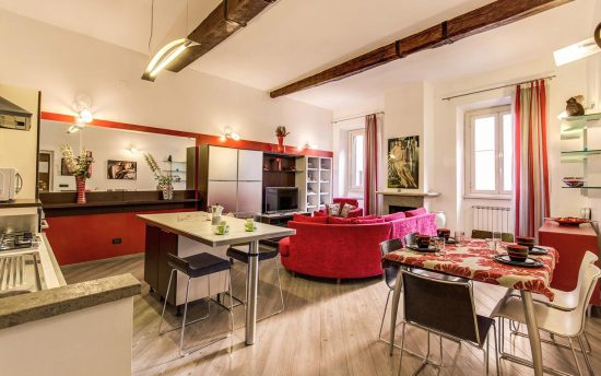 Large Living Room with Full Kitchen | Rome Apartments for Rent