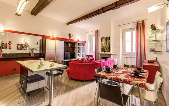 Atena 3. Luxury, Wide Living Room in Apartments, Rome, Italy | Accomodation near Piazza Navona, Pantheon and Saint Peter