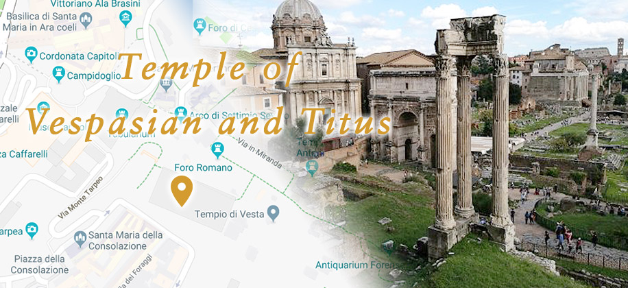 Temple of Vespasian and Titus in Center of Rome